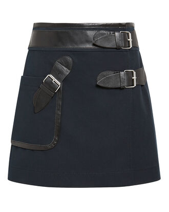 Leather Trim Navy Mini Skirt, NAVY, hi-res
