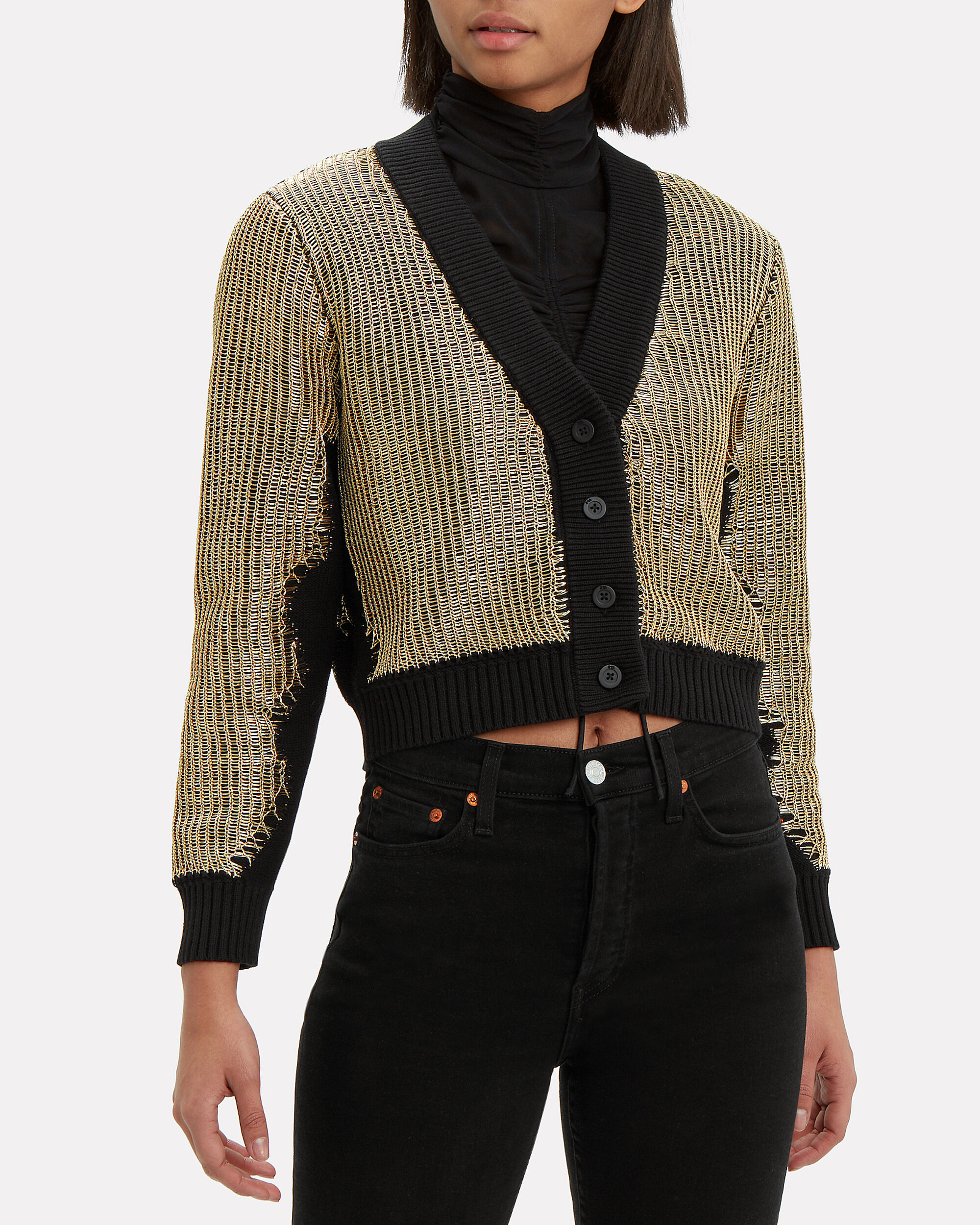 Hunter Metallic Cardigan, GOLD, hi-res