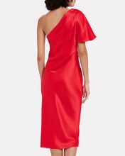 Satin Pleated One-Shoulder Dress, RED, hi-res