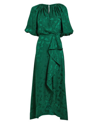 Olivia Satin Jacquard Dress, EMERALD, hi-res