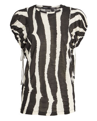 Zebra-Striped Drawstring T-Shirt, ECRU/BLACK, hi-res