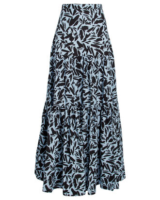 Serence Faille Maxi Skirt, PALE BLUE/BLACK, hi-res