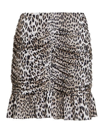 Nicci Ruched Leopard Print Skirt, MULTI, hi-res