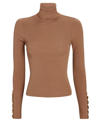 Desi Rib Knit Turtleneck Top, BEIGE, hi-res