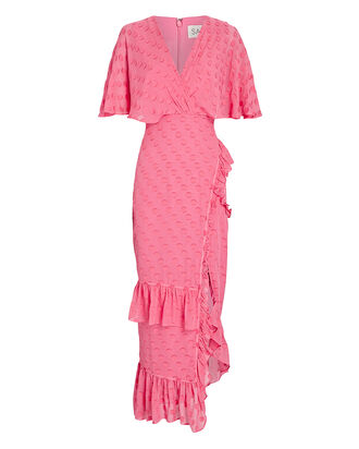 Rose Ruffled Midi Wrap Dress, PINK, hi-res