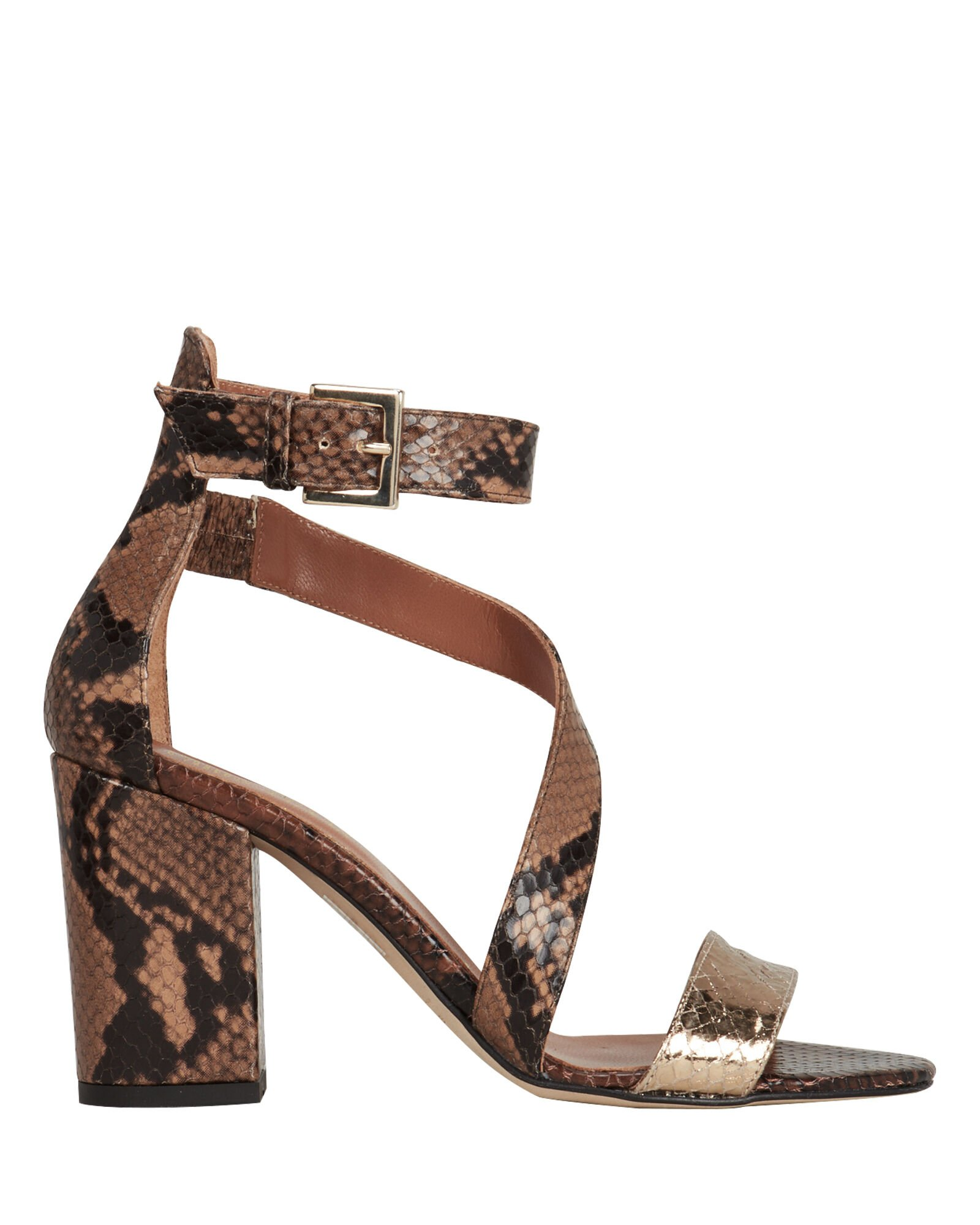 Snakeskin Embossed Sandals, BROWN/GOLD, hi-res