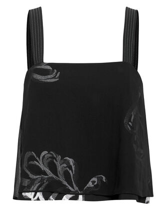 Embroidered Overlay Top, BLACK, hi-res