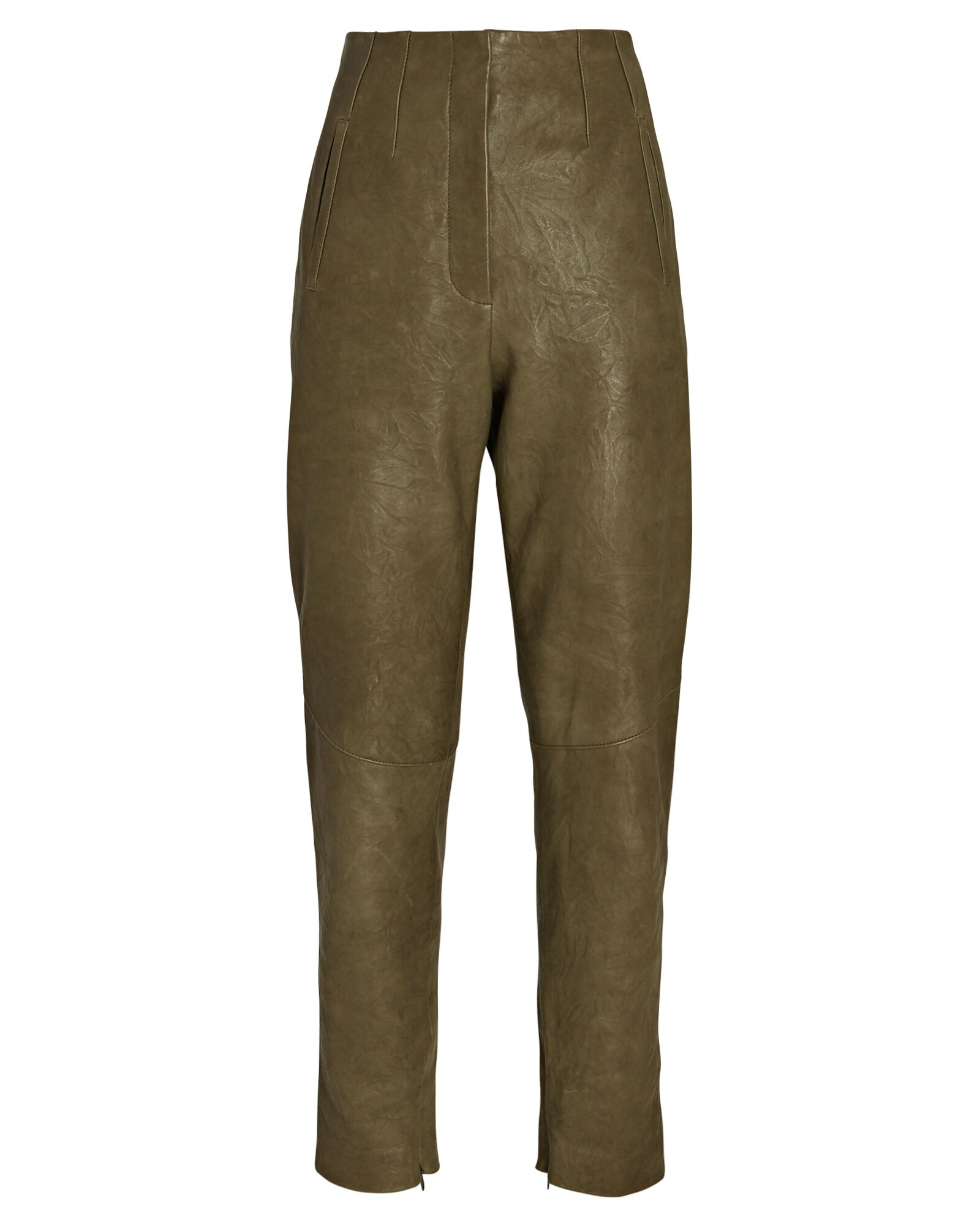 Sethe High-Rise Leather Pants, OLIVE/ARMY, hi-res