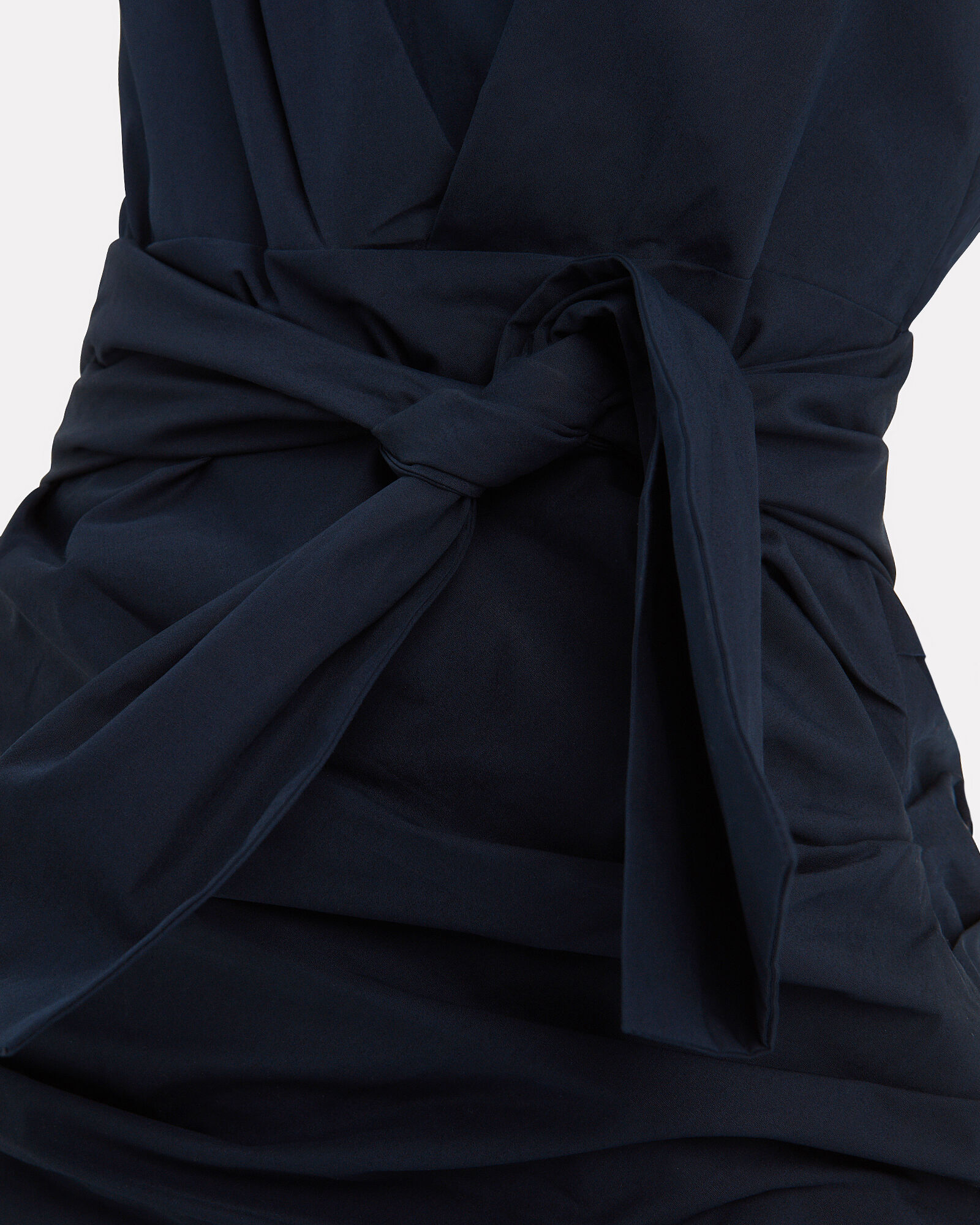 One Shoulder Gathered Poplin Dress, NAVY, hi-res