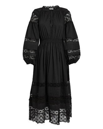 Ophelia Cotton Poplin Dress, BLACK, hi-res