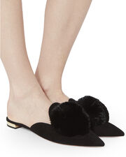 Powder Puff Suede Flats, BLACK, hi-res