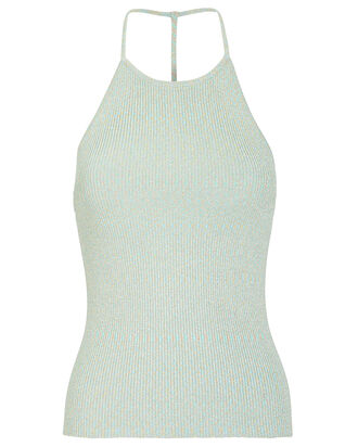 Vivienne Ribbed Lurex Tank, LIGHT BLUE/SILVER, hi-res