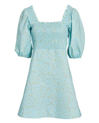 Smocked Floral Cotton Mini Dress, LIGHT BLUE, hi-res