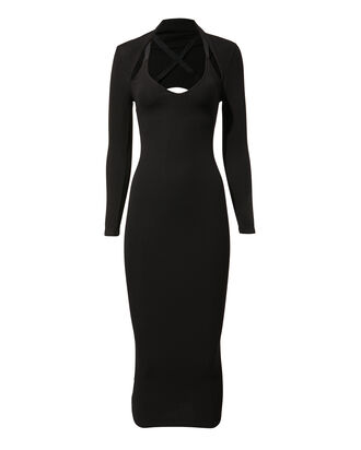 Shrug Midi Dress, BLACK, hi-res