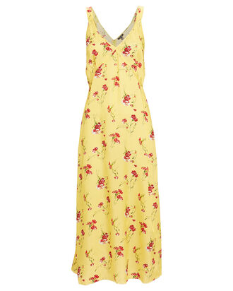 Floral Silk Slip Dress, YELLOW, hi-res