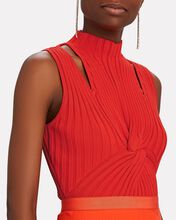 Collins Twisted Rib Knit Top, RED, hi-res