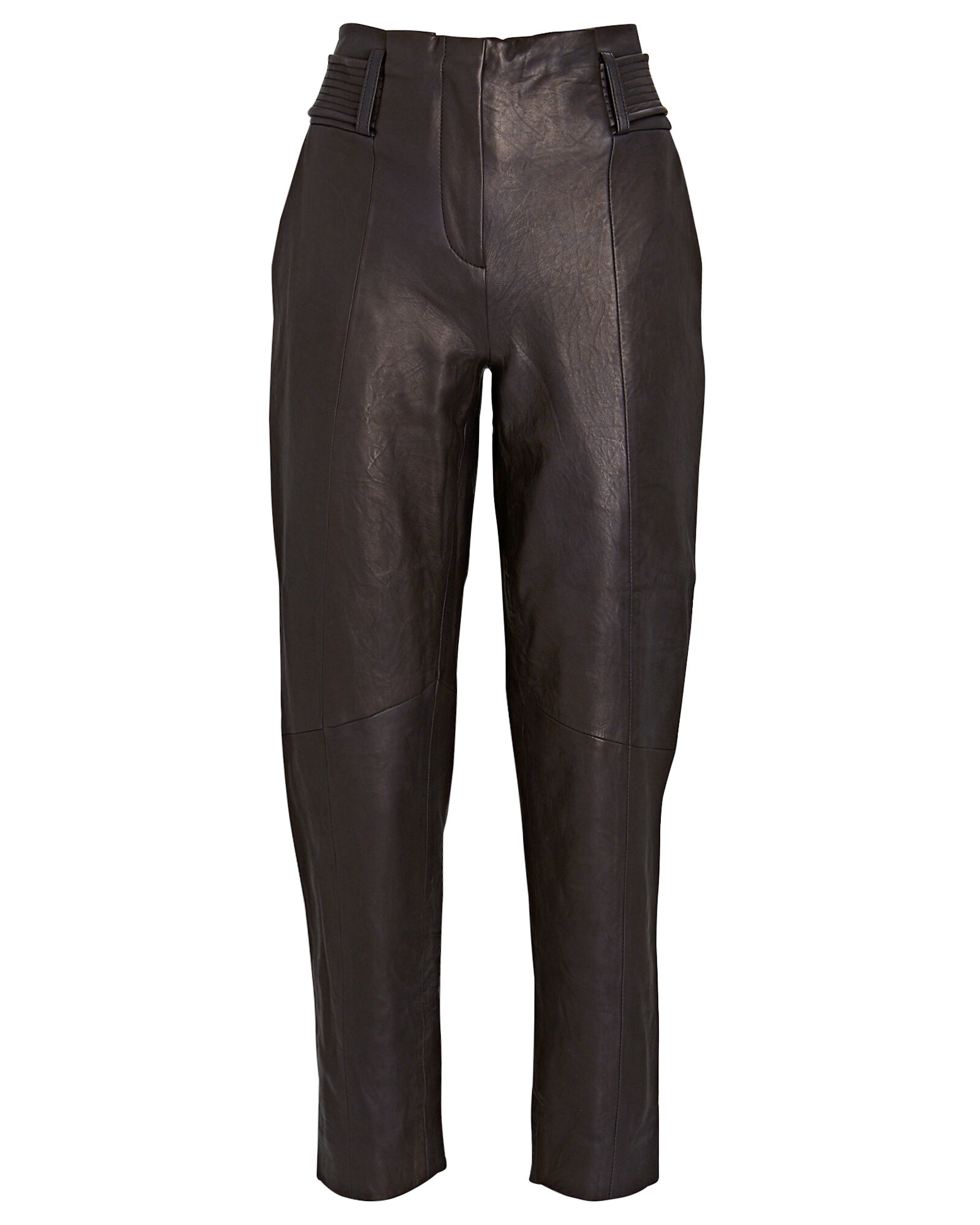 Kaylee Tapered Leather Pants, BLACK, hi-res