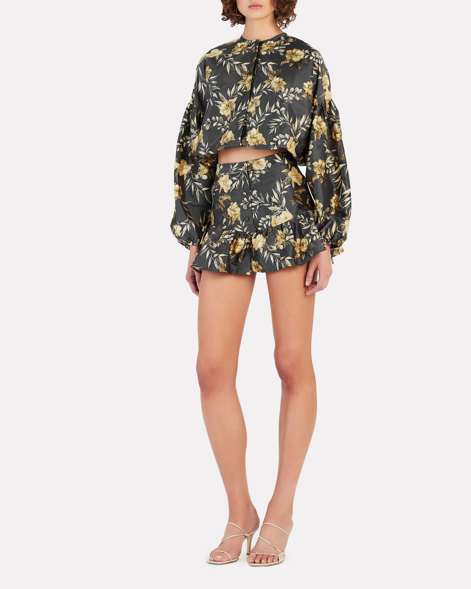 Carmen Floral Print High-Rise Shorts, BLACK/YELLOW, hi-res