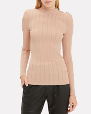 Button-Embellished Pointelle Knit Top, BLUSH, hi-res