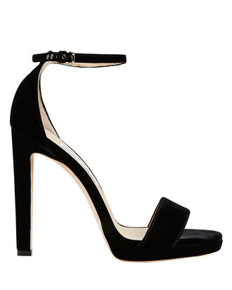 Misty Velvet Stiletto Sandals, BLACK, hi-res
