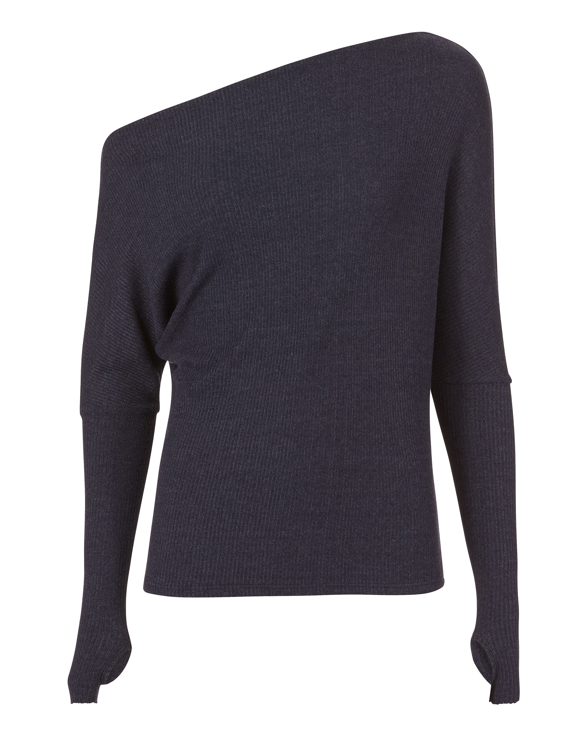 Off Shoulder Thumbhole Navy Sweater, NAVY, hi-res