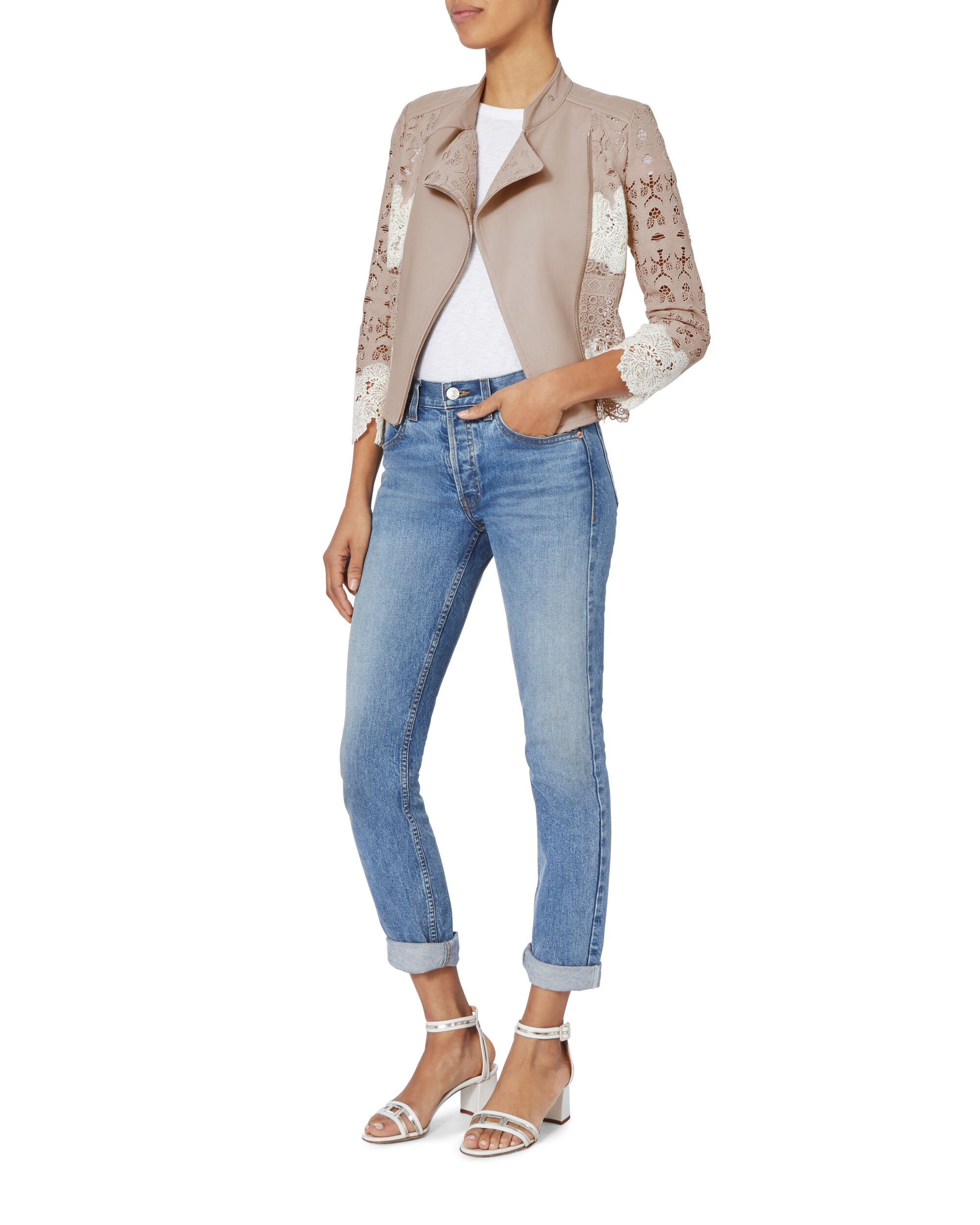 Lace Blush Moto Jacket, BLUSH/NUDE, hi-res