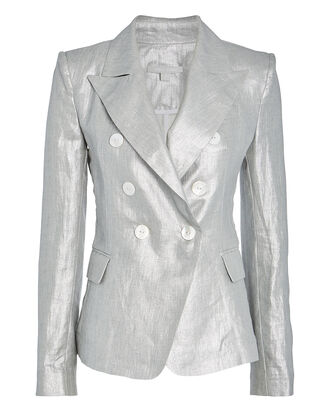 Double-Breasted Metallic Linen Blazer, SILVER, hi-res