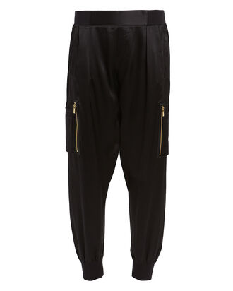 Silk Satin Cargo Pants, BLACK, hi-res