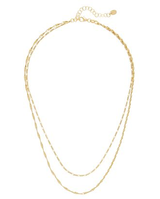 Double Layered Chain Necklace, GOLD, hi-res