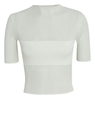 Rib Knit Semi-Sheer Crop Top, IVORY, hi-res