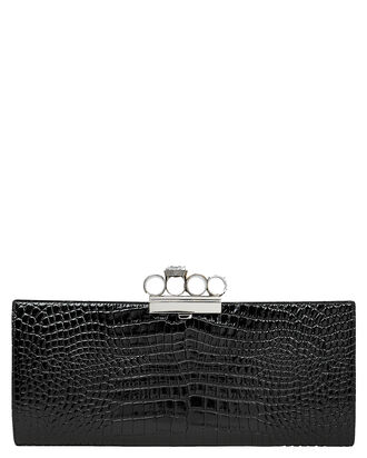 Skull Ring Croc-Embossed Clutch, BLACK, hi-res