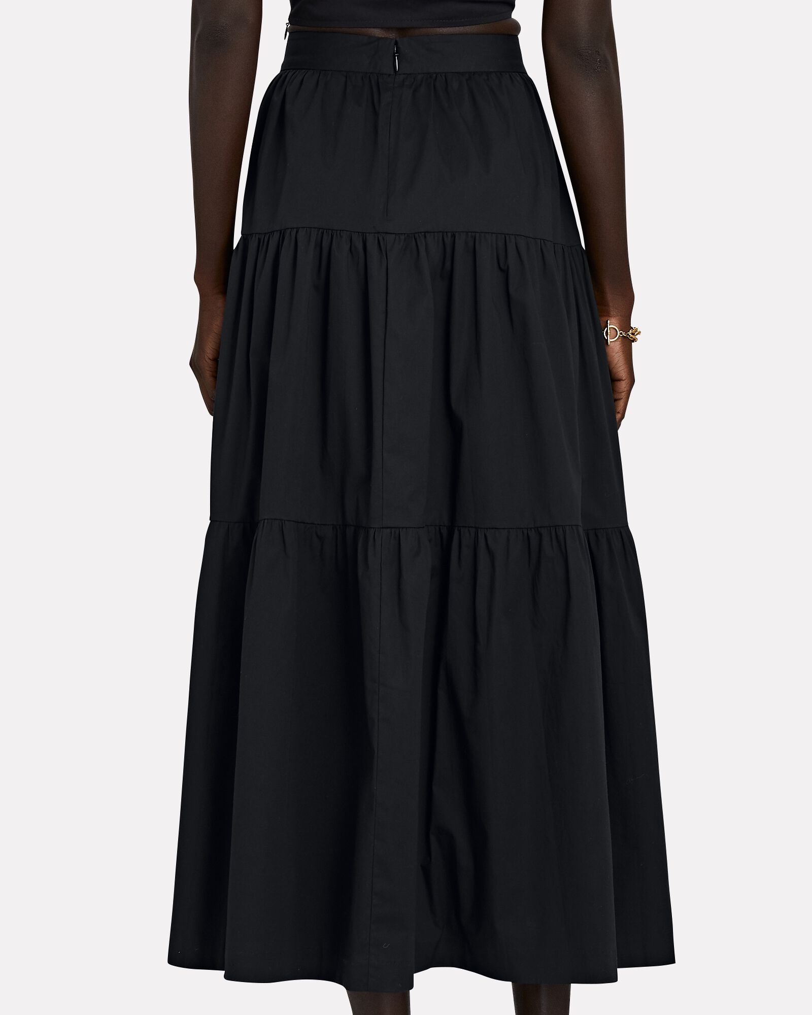 Sea Tiered Poplin Midi Skirt, BLACK, hi-res