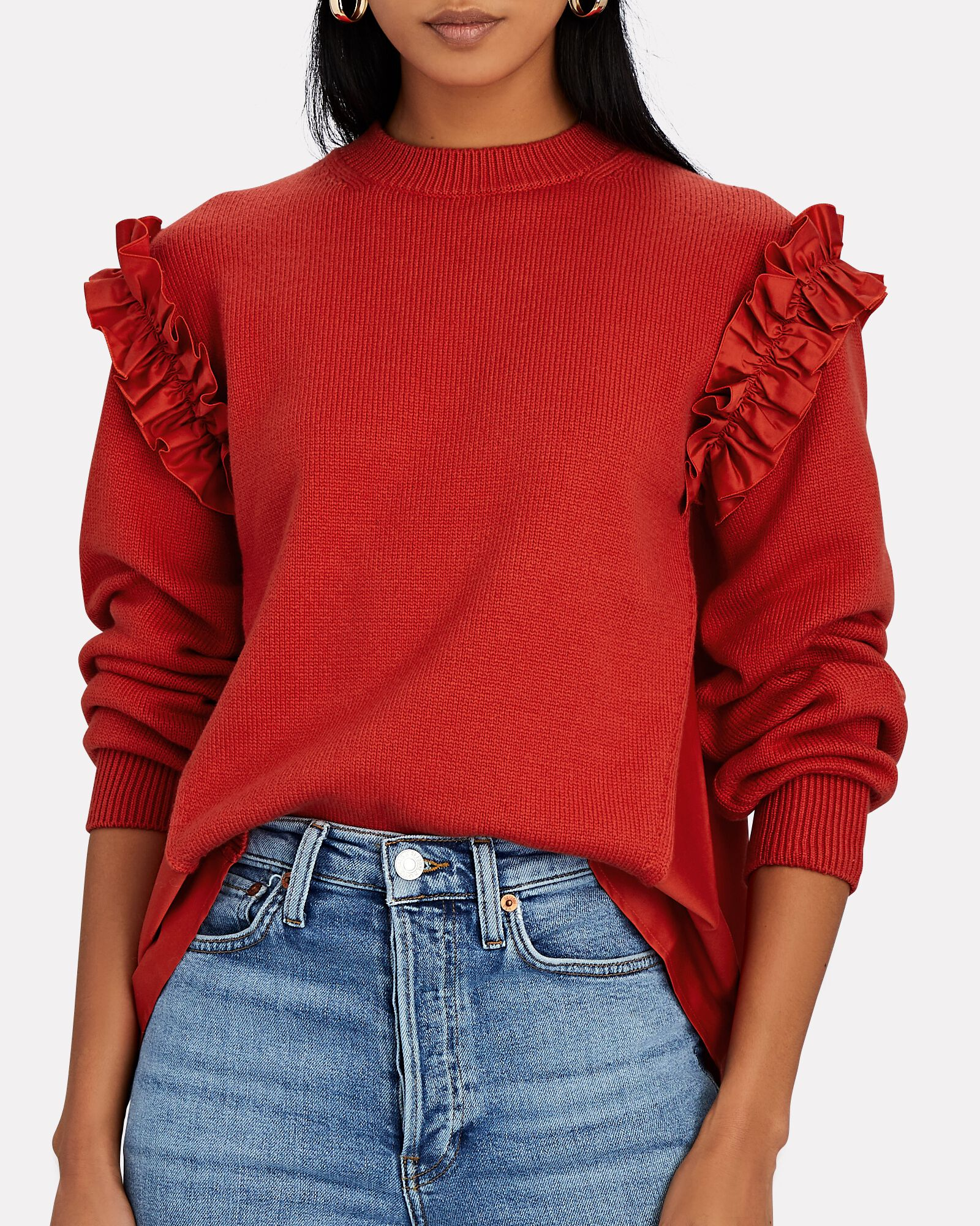 Ruffle Shoulder Sweater, RED, hi-res