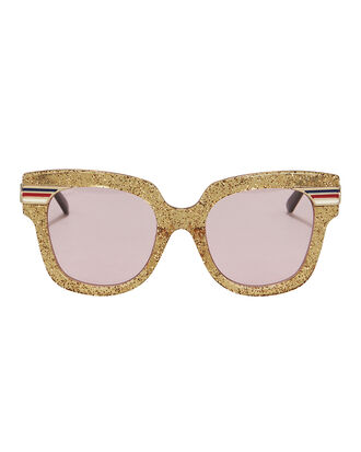 Gold Glitter Pink Lens Sunglasses, GOLD, hi-res