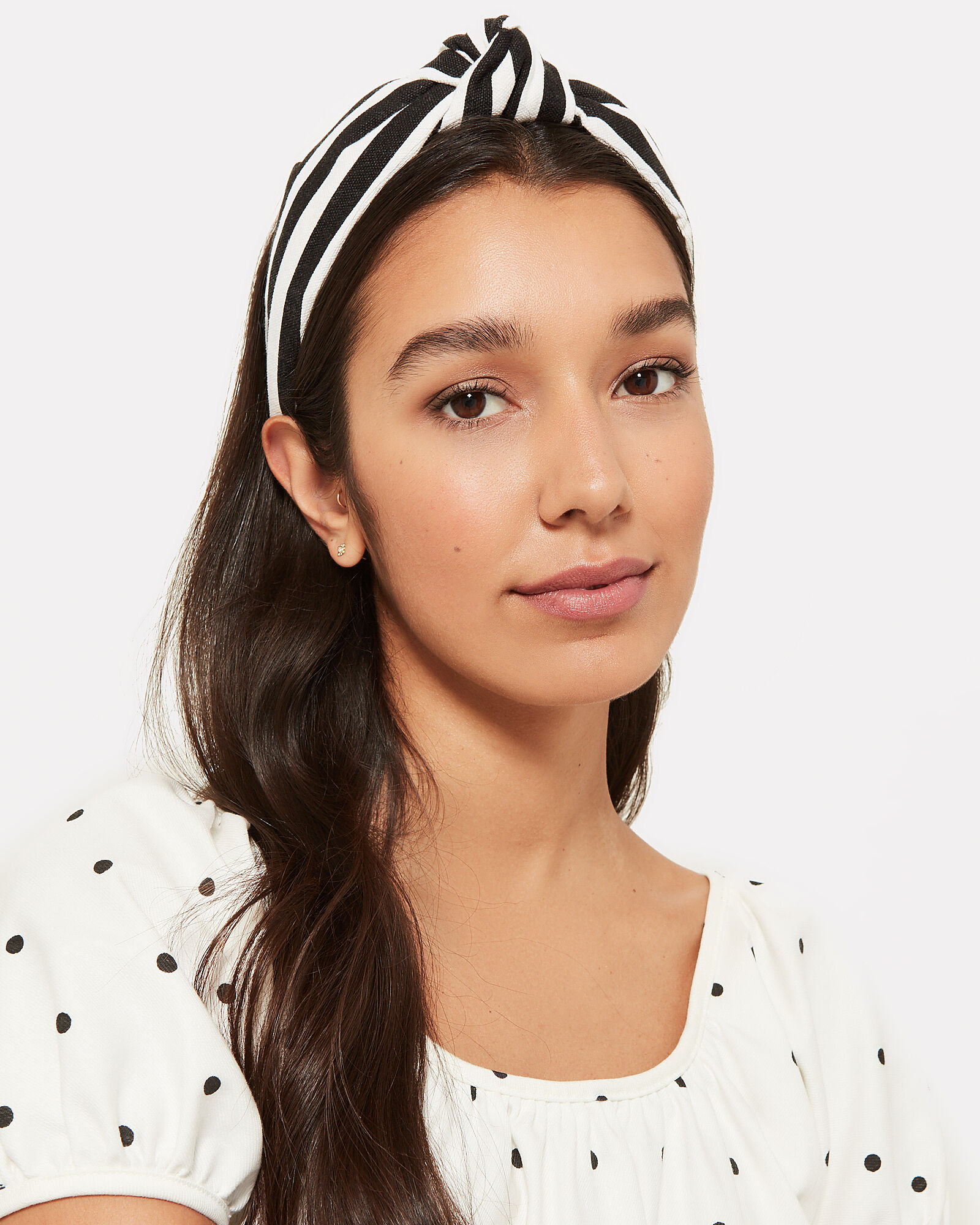 Striped Knotted Headband, BLK/WHT, hi-res