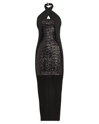 Draped Crepe Sequin Dress, BLACK, hi-res
