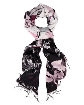 Wool Torn Rose Skull Scarf, BLACK/ROSE, hi-res