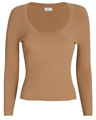 Declan Scoop Neck Rib Knit Top, BEIGE, hi-res