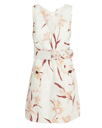 Corsage Safari Dress, WHITE/PINK FLORAL, hi-res
