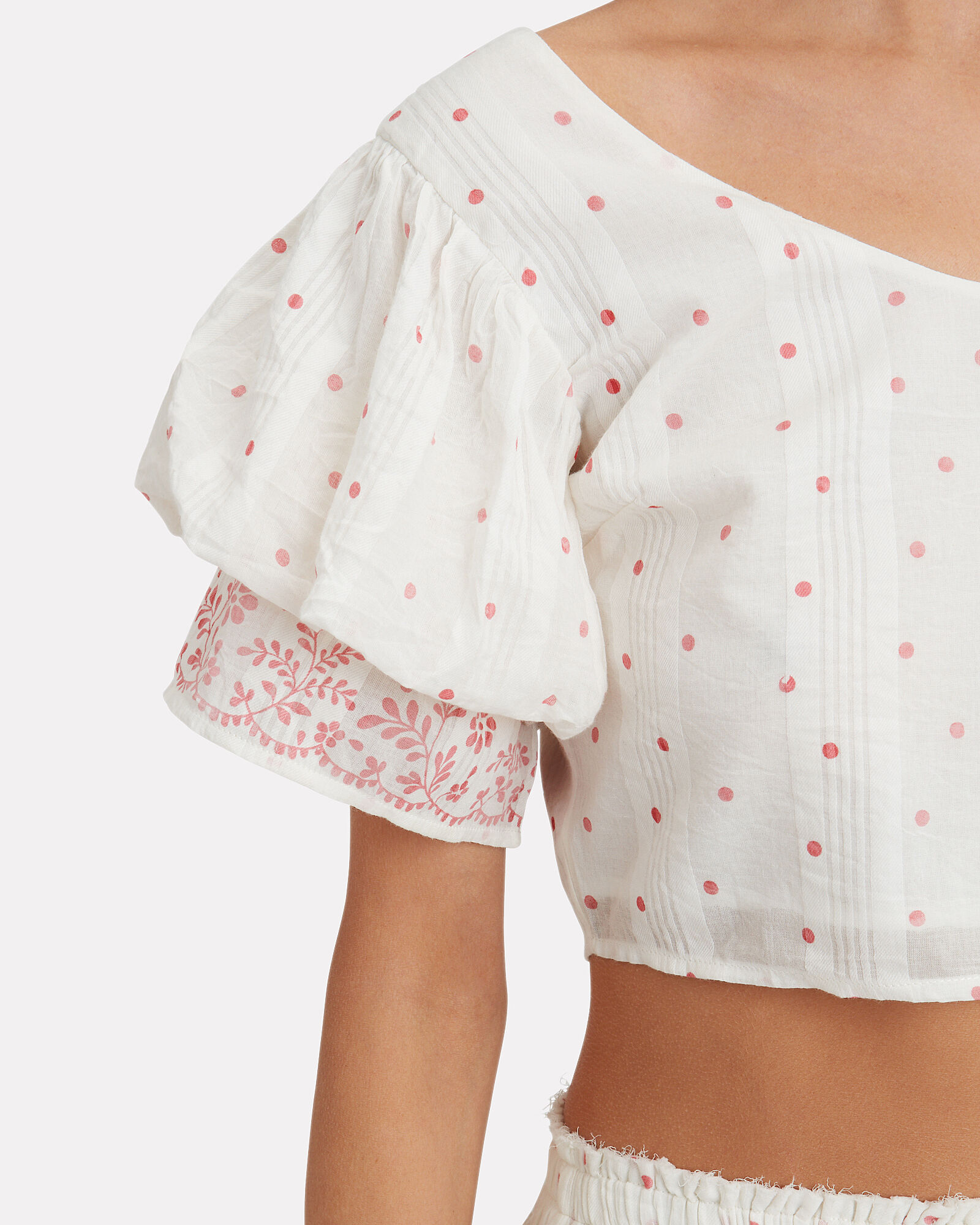 Christine Polka Dot Crop Top, WHITE/ROSE, hi-res