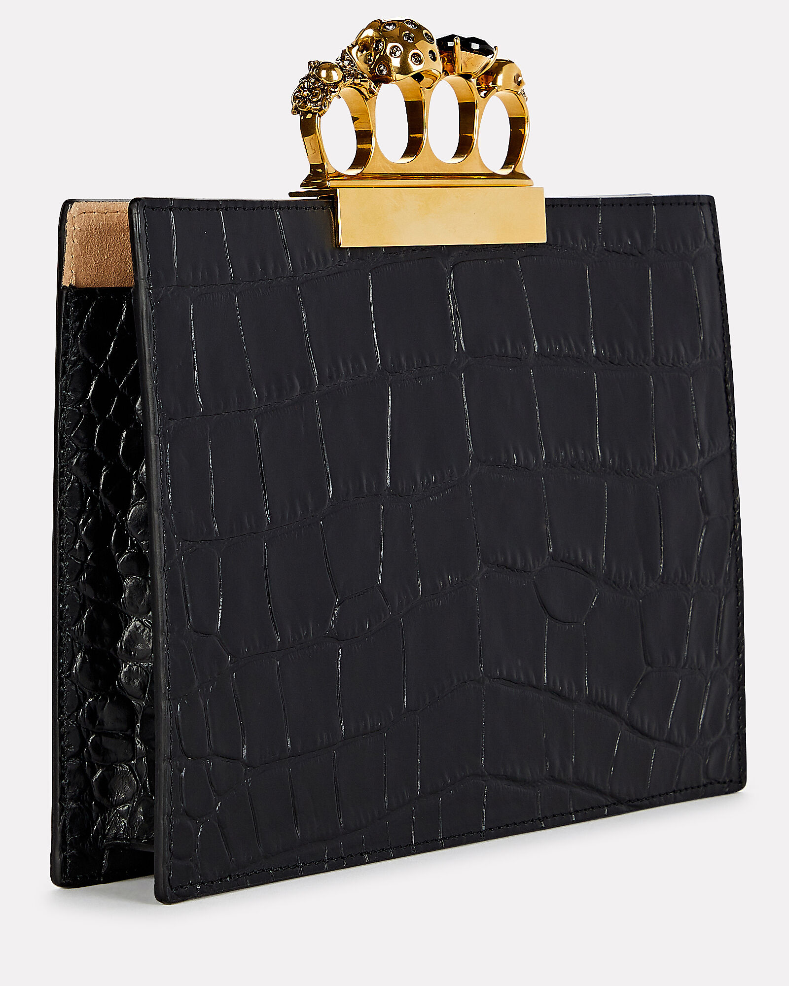 Skull Four Ring Embossed Clutch, BLACK, hi-res