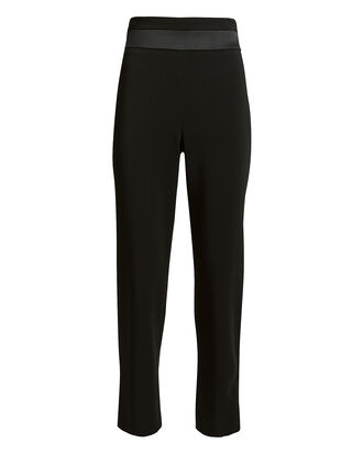 Silk Panel High-Rise Slim Pants, BLACK, hi-res