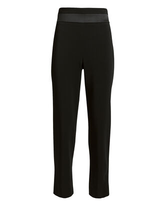 Silk Panel High-Rise Pants, BLACK, hi-res