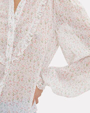 Floral Button Down Ruffled Top, IVORY FLORAL, hi-res