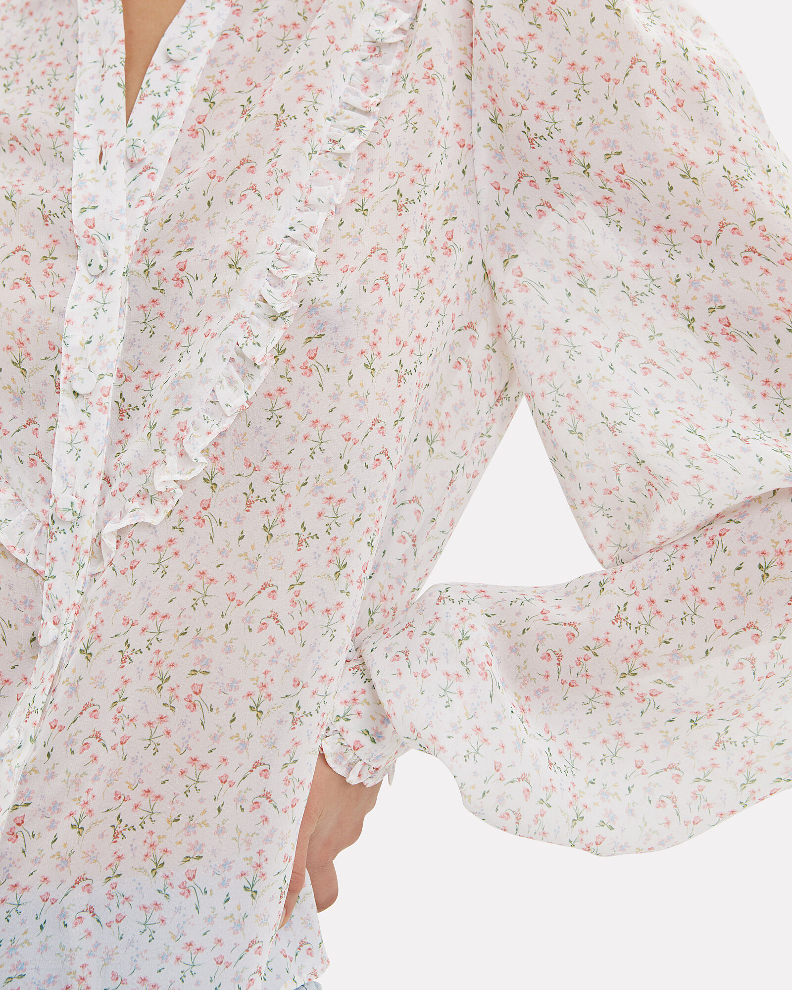 Floral Button Down Ruffled Top, MULTI, hi-res