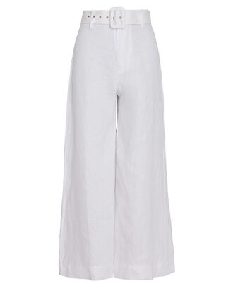 Rose Belted Linen Pants, WHITE, hi-res