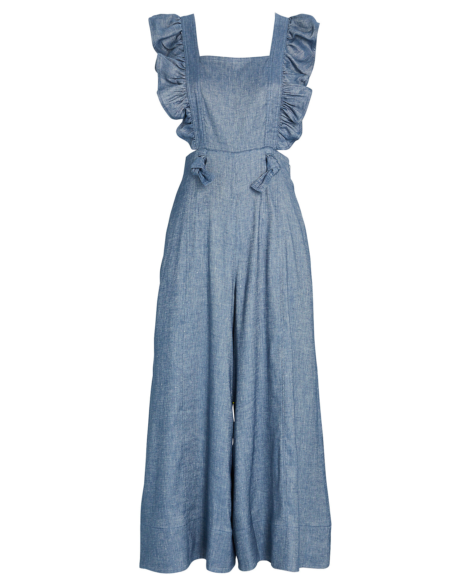 Amy Chambray Frilled Jumpsuit, BLUE-MED, hi-res