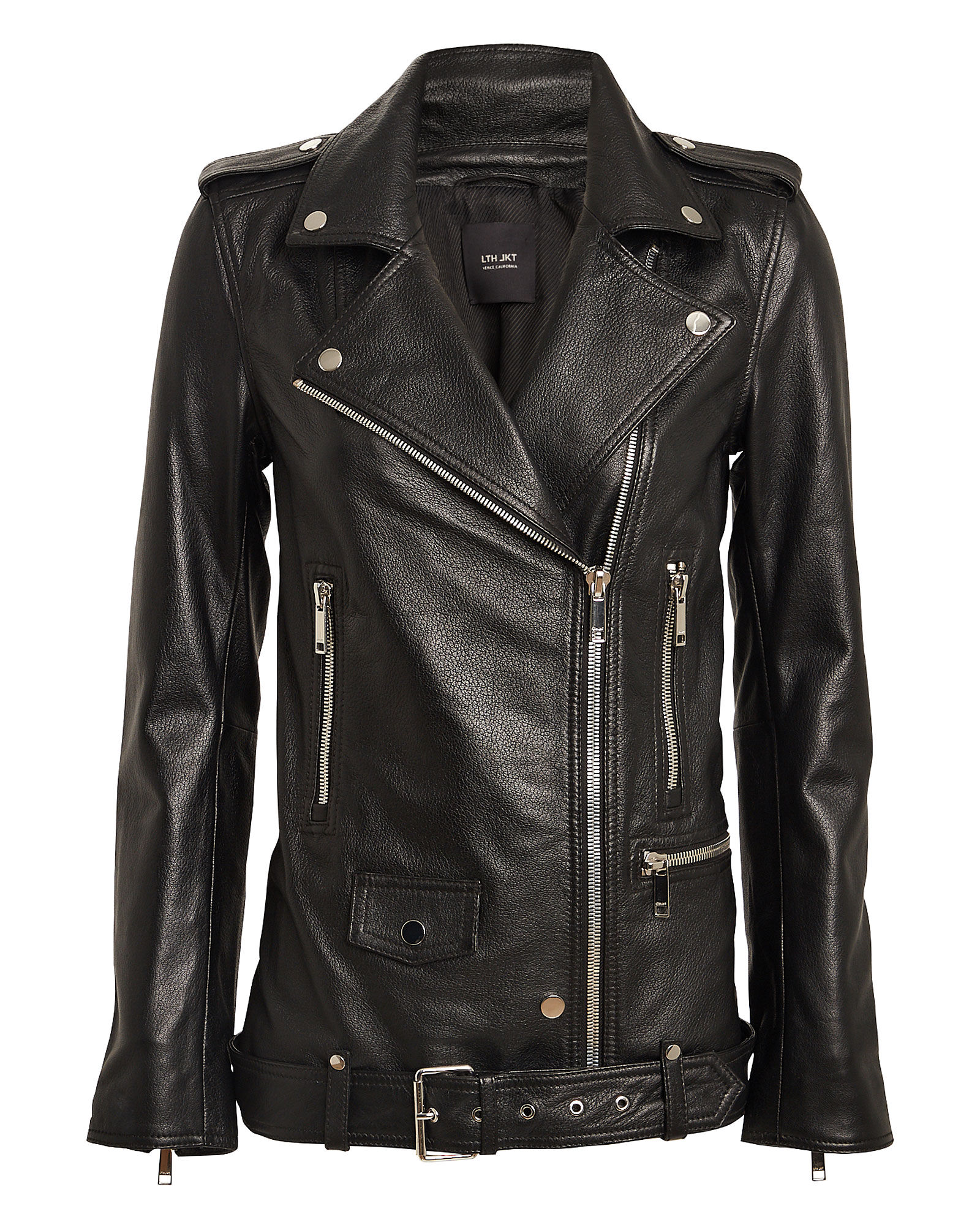 Emi Boyfriend Leather Moto Jacket, BLACK, hi-res