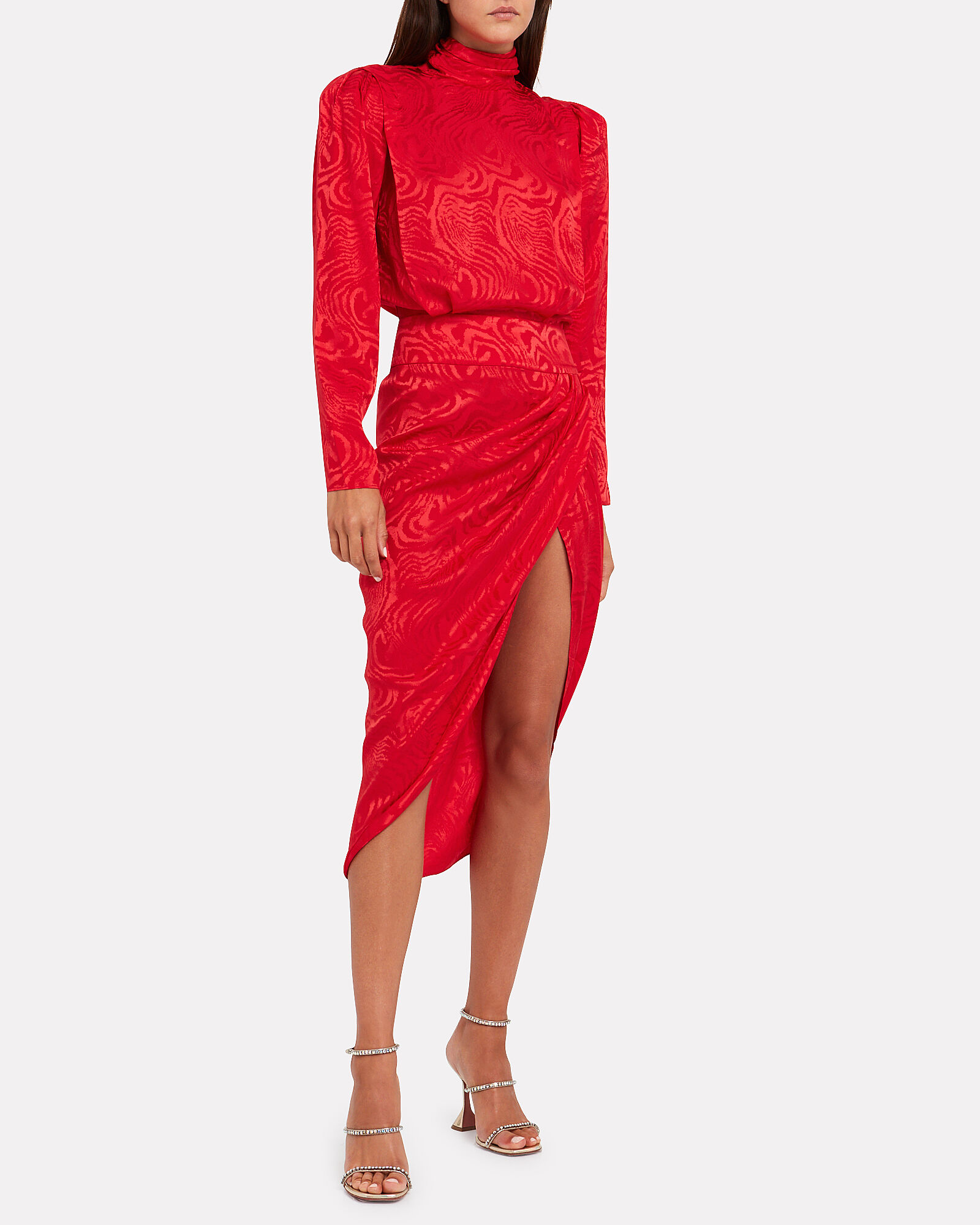 Kaira Moiré High Neck Dress, RED, hi-res