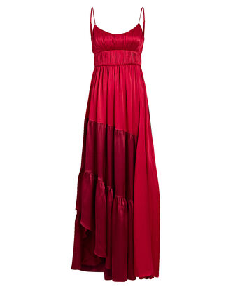 Zaidee Two-Tone Silk Gown, RED-DRK, hi-res